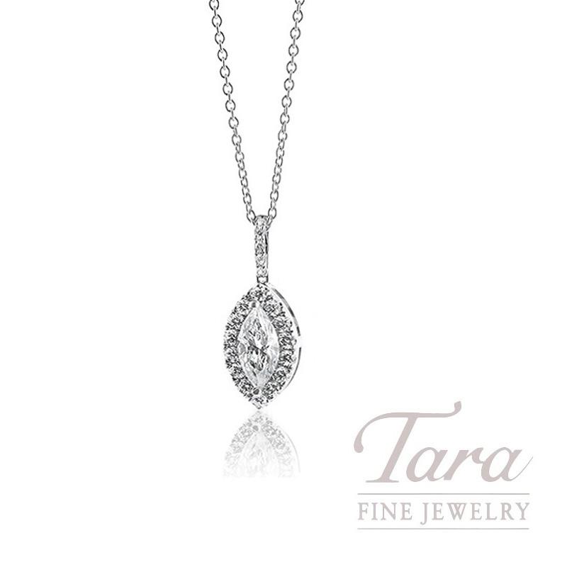18k White Gold Marquise Diamond Halo Pendant, 1.1G, 1.00CT Marquise Diamond, .14TDW Round Diamonds