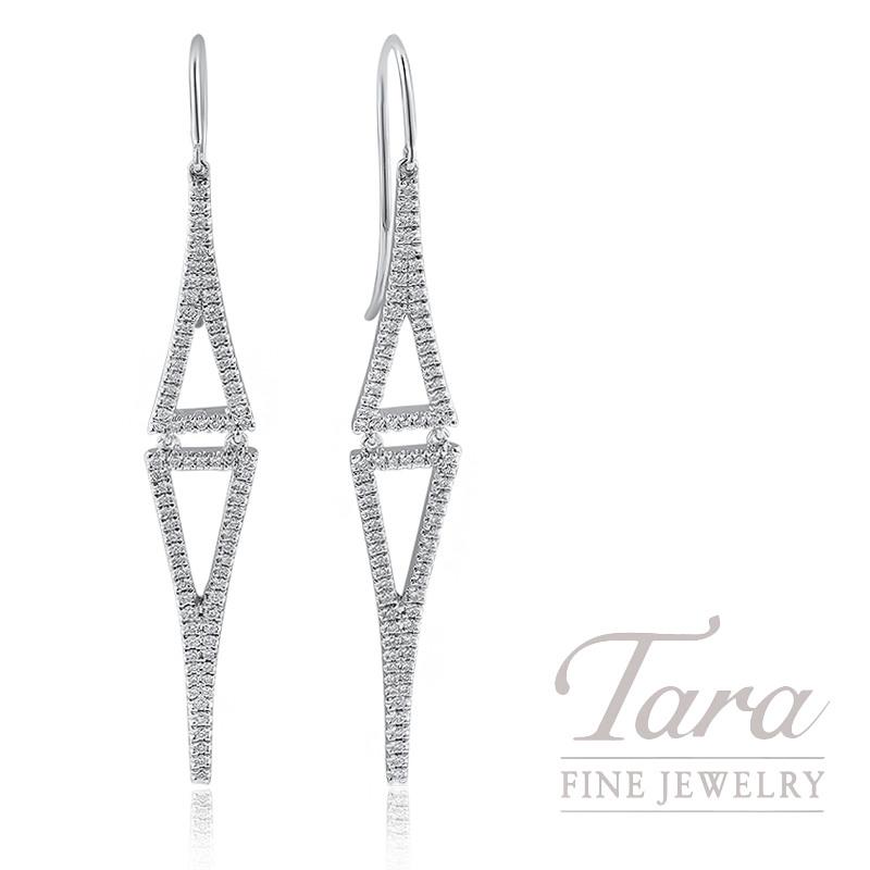 18K White Gold Diamond Triangle Dangle Earrings, 7.5G, .75TDW