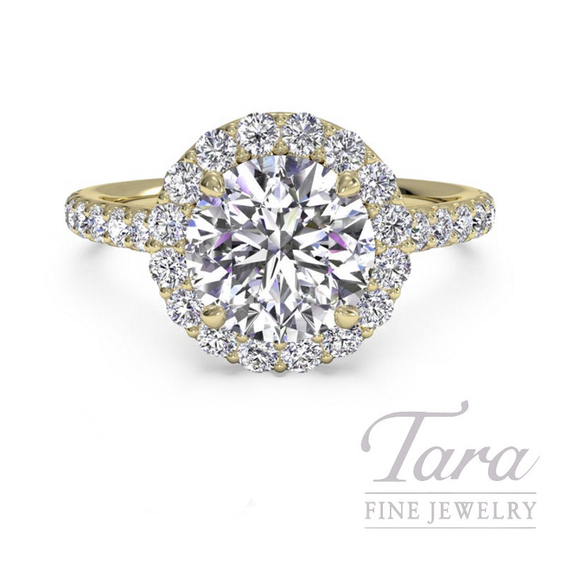 Ritani 18k Yellow Gold Diamond Halo Engagement Ring, 2.9G, .40TDW (Center Stone Sold Separately)