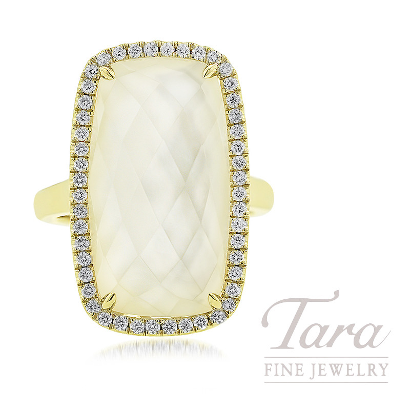 18K Yellow Gold Clear Quartz, Mother of Pearl, & Diamond Ring 10.0G, 13.75TGW Clear Quartz over Mother of Pearl, .37TDW