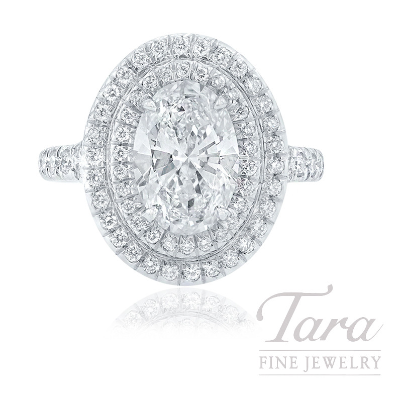 18K White Gold Oval-shape Diamond Double Halo Engagement Ring, 2.00CT Oval-shape Diamond, 7.8G, .57TDW (Center Stone Sold Separately)
