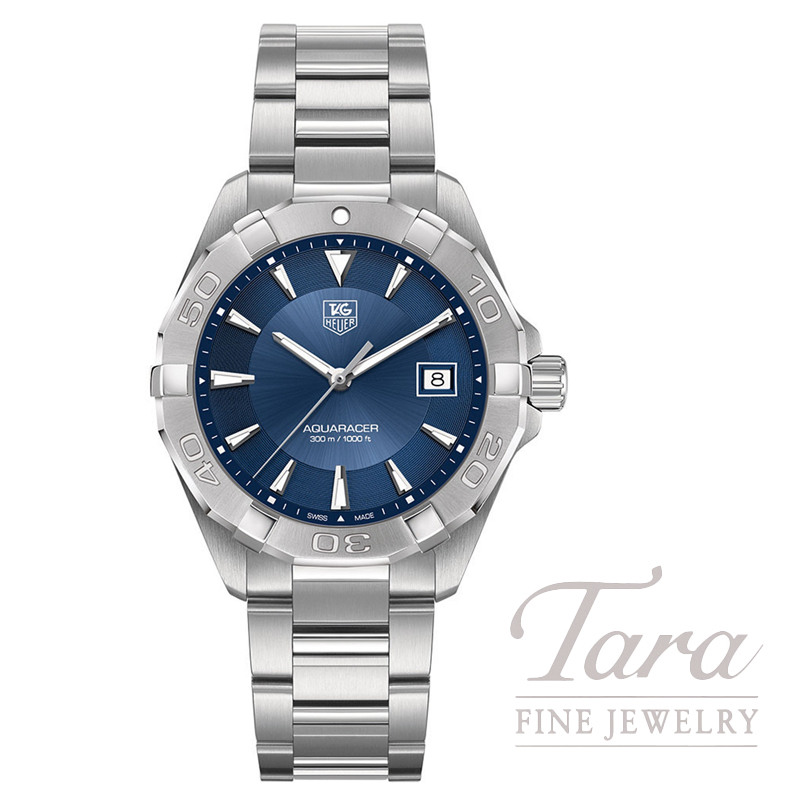 "Tag Heuer 40.5MM Aquaracer Quartz, Blue ""Sunray"" Dial"
