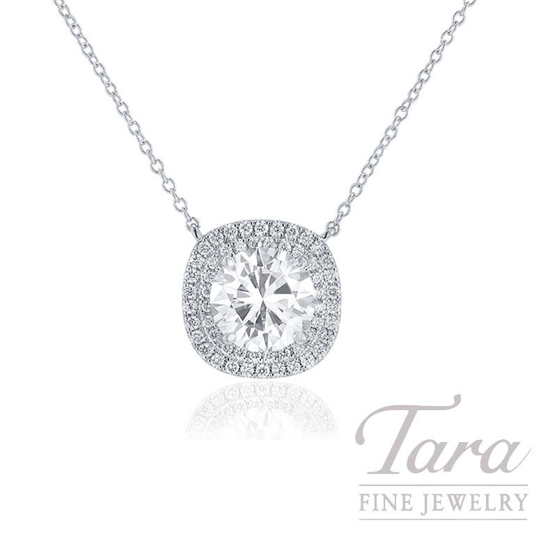 "A. Jaffe 18K White Gold Double Halo Necklace, 18"" Chain, 2.28CT Round Brilliant Diamond, 4.9G, .30TDW (Center Stone Sold Separately)"
