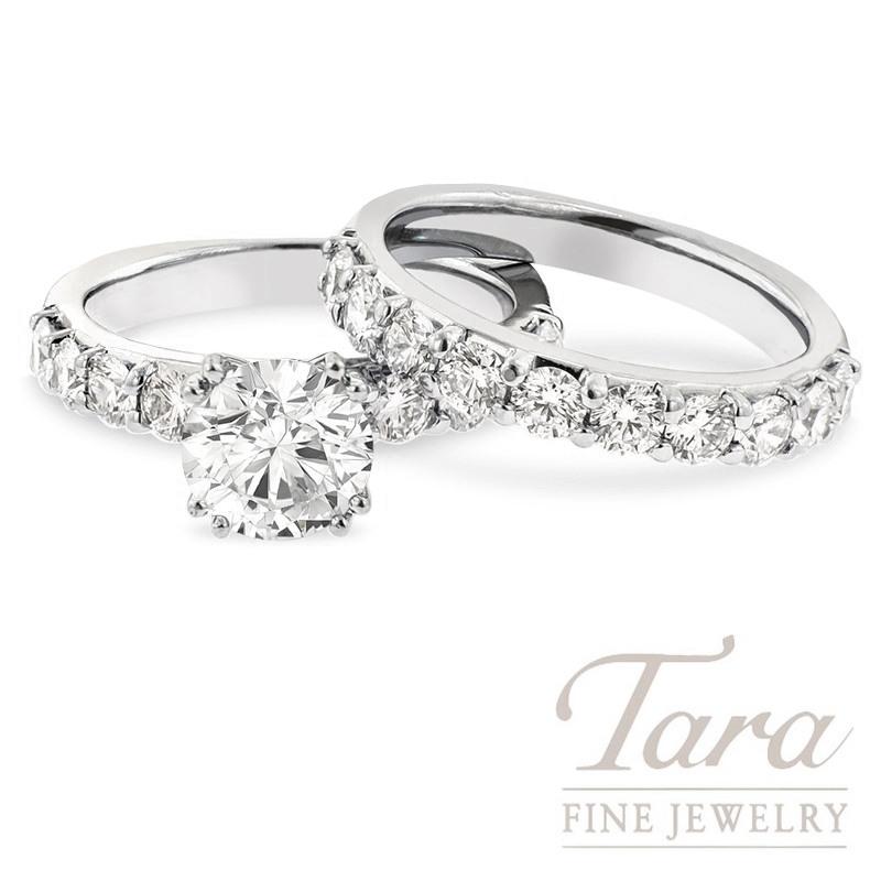 18K White Gold Diamond Wedding Set, 11.9G, 1.84TDW (Center Stone Sold Separately)