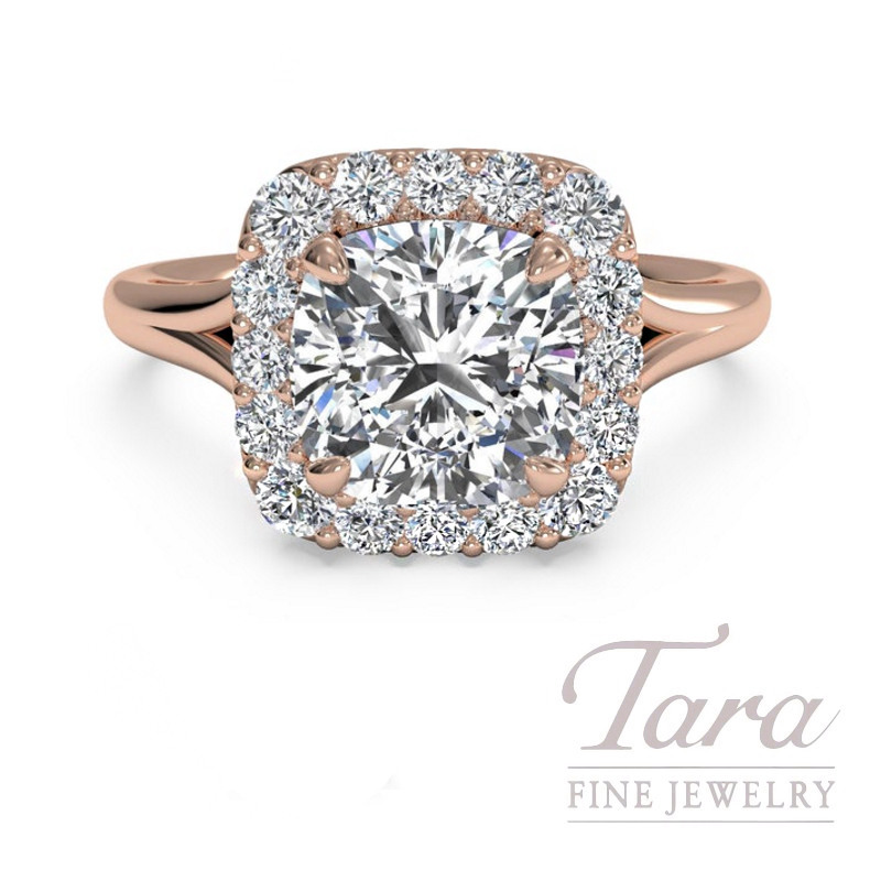 Ritani 18k Rose Gold Diamond Halo Engagement Ring, 3.3G, .22TDW (Center Stone Sold Separately)