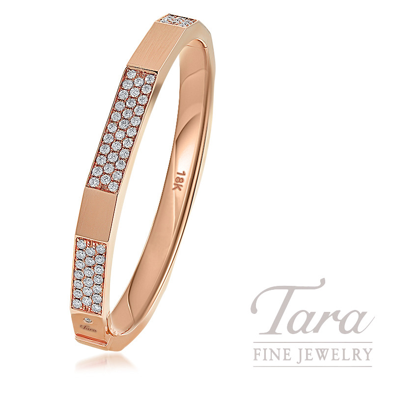 18k Rose Gold Geometric Bangle, 36.9G, 1.54TDW