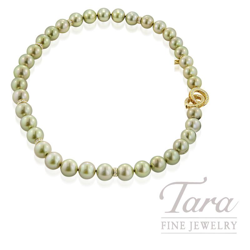 Mikimoto Strand of 37 Rare Greenish South Sea Pearls