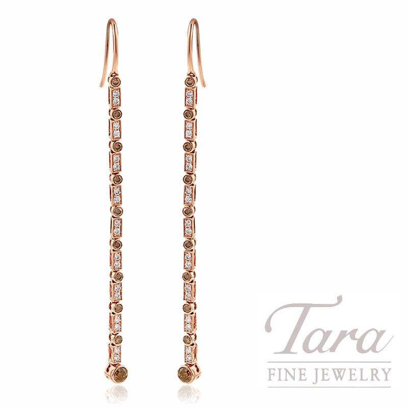 18K Rose Gold Cognac & White Diamond Bezel Dangle Earrings, 3.9G, .49TDW Cognac Diamonds, .30TDW White Diamonds