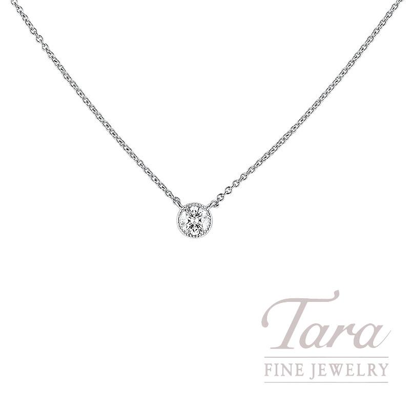 Forevermark 18K White Gold Round Diamond Bezel Necklace, 0.32CT