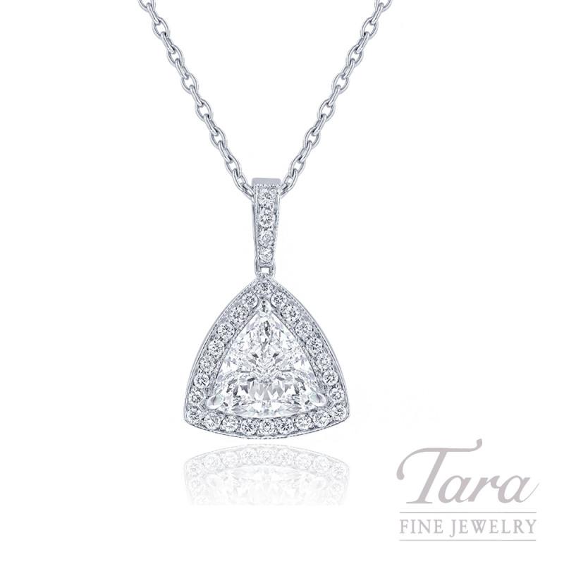 "18K White Gold Trillion Diamond Halo Necklace, 18"" Chain, 2.11CT Trillion Diamond, 3.0G, .27TDW"