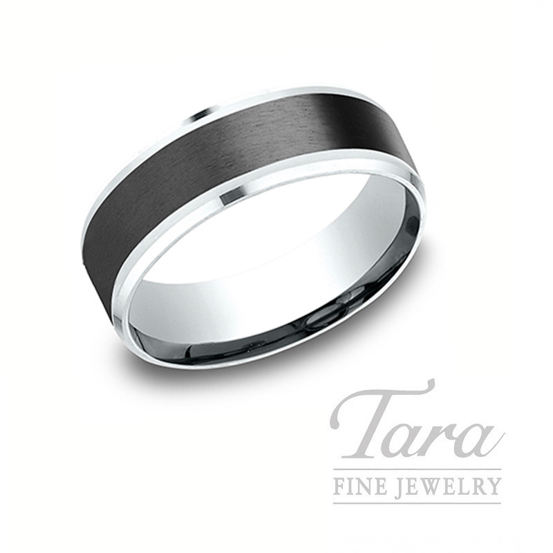 Gentlemen's 18k White Gold and Black Titanium Wedding Band, 10.3G