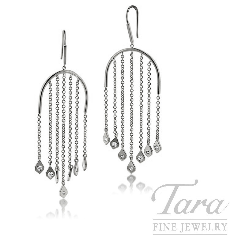 18K White Gold Diamond Dangle Earrings, 9.0G, .71TDW