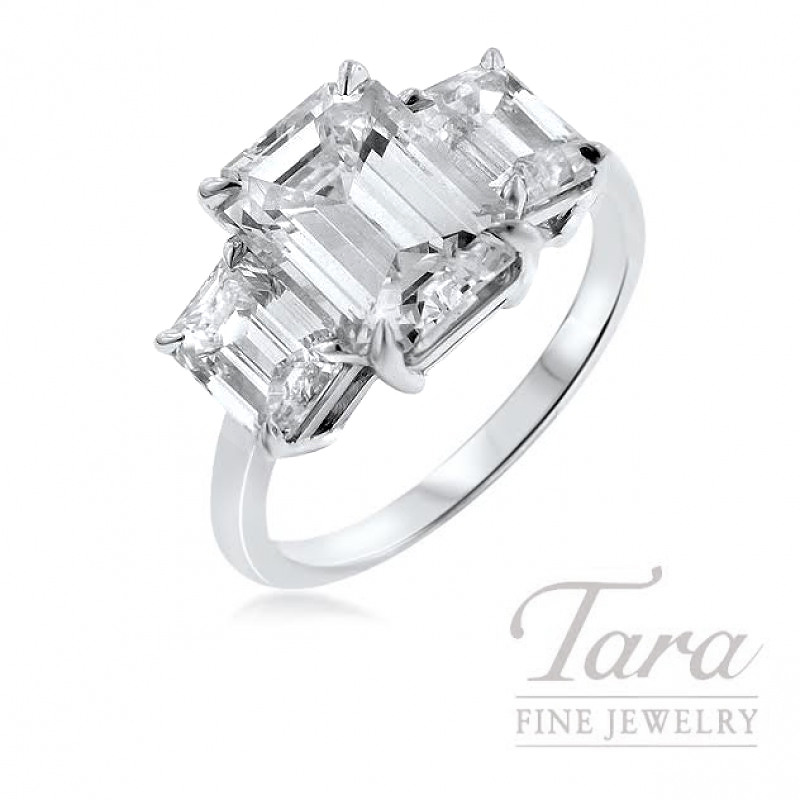Forevermark 18K White Gold Diamond Engagement Ring, 3.21CT Emerald Cut Diamond, 2.00TDW