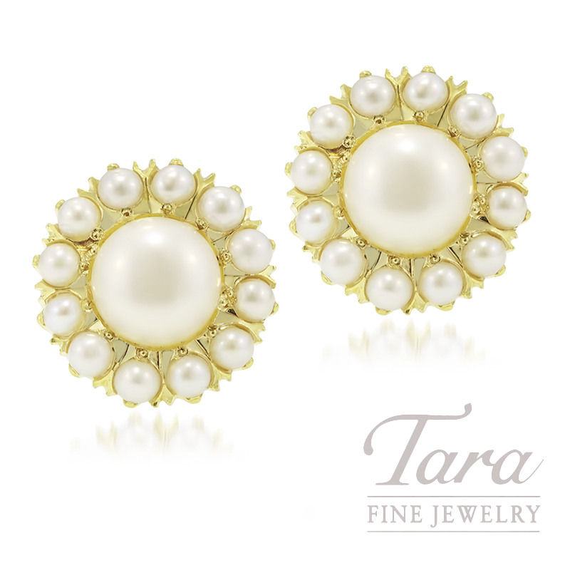20K Yellow Gold Pearl Earrings, 5.7G