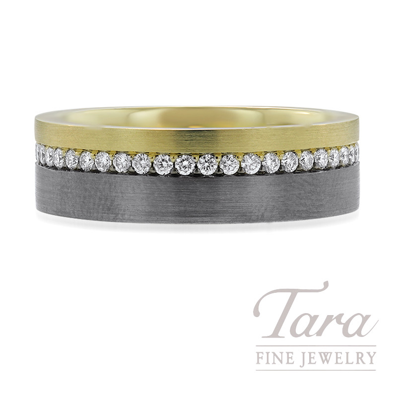18k Yellow and Black Gold Diamond Wedding Band, 10.7G, .60TDW