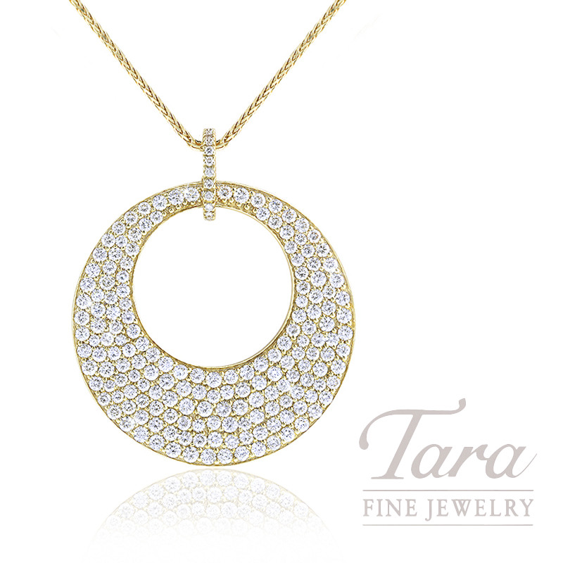 18K Yellow Gold Pave Diamond Circle Pendant, 9.6G, 3.60TDW