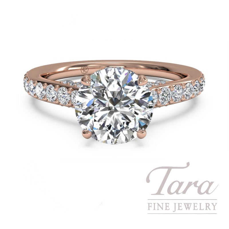 Ritani 18k Rose Gold Diamond Engagement Ring, 4.0G, .46TDW (Center Stone Sold Separately)