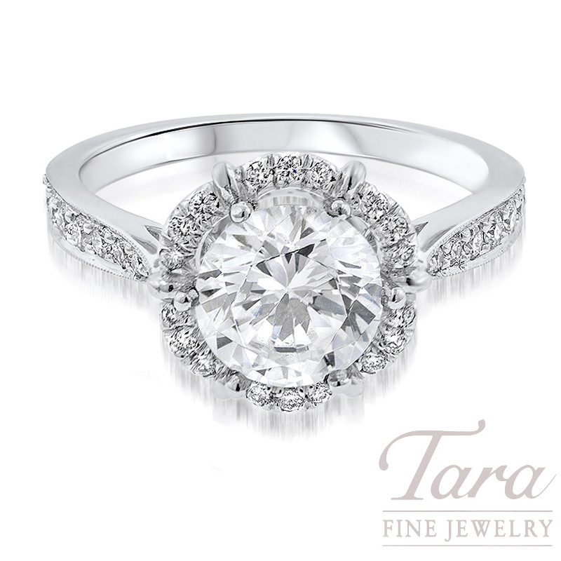 18k White Gold Diamond Halo Engagement Ring, .34TDW (Center Stone Sold Separately)