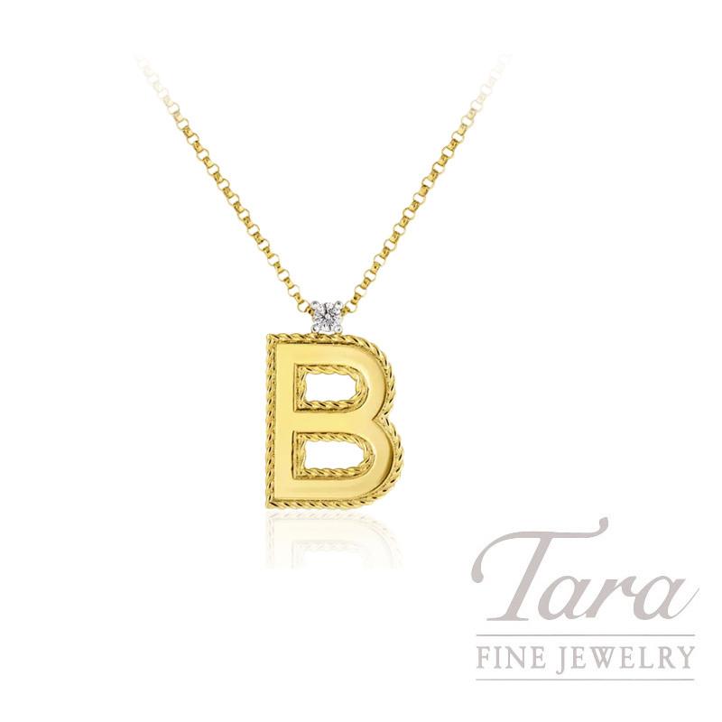 "Roberto Coin 18K Yellow Gold ""B"" Diamond Pendant, 18"" Chain, .04CT"