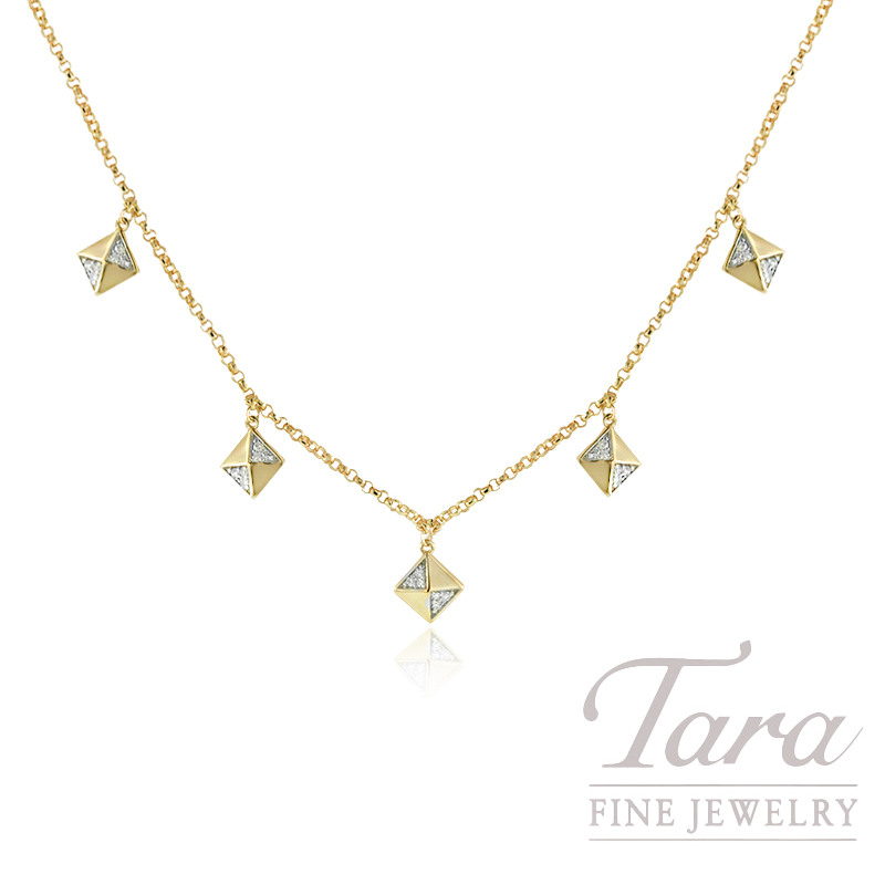 18k Yellow Gold Pave Diamond Square Stationary Necklace, .07TDW