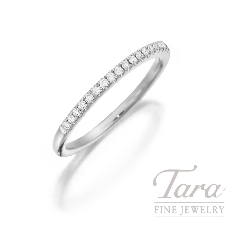 18K White Gold Diamond Band, 1.7G, .15TDW
