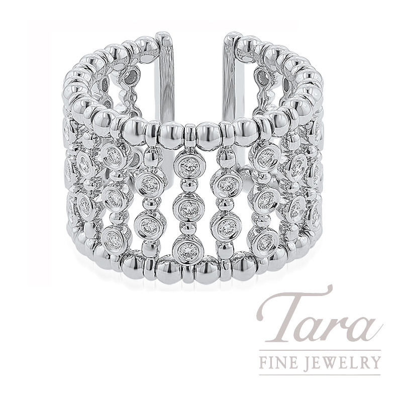 18K White Gold Diamond Bezel Fashion Ring, 13.3G, .63TDW