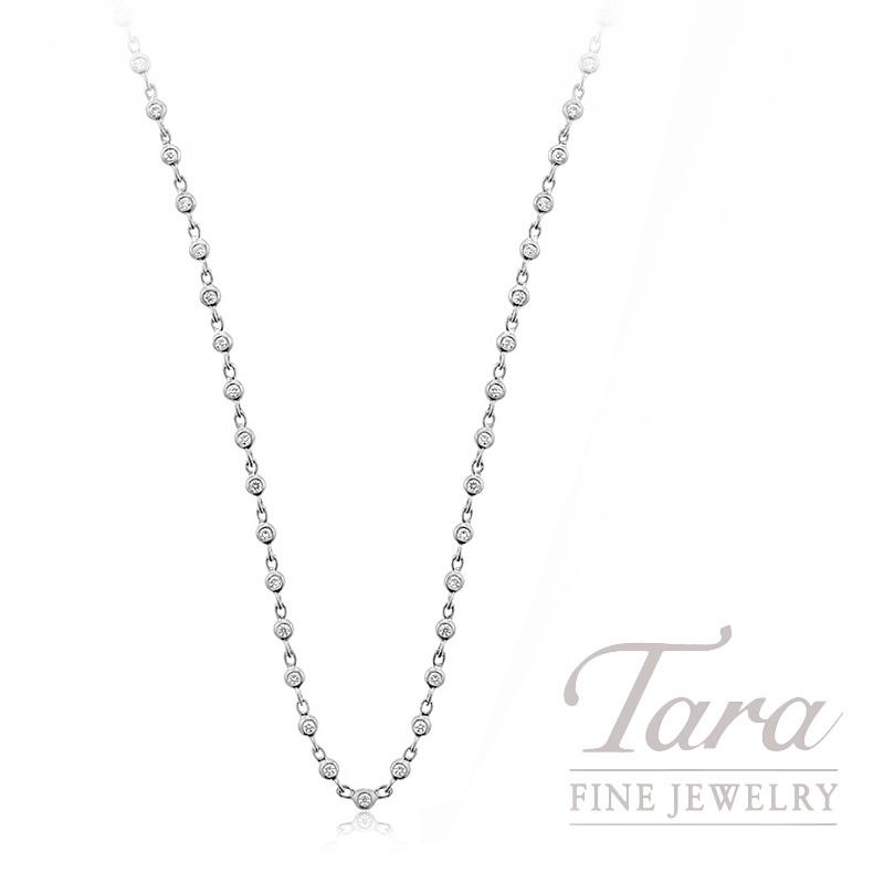 """18K White Gold Diamond Bezel Chain Necklace, 16/18"""" Chain, 6.0G, .68TDW"""