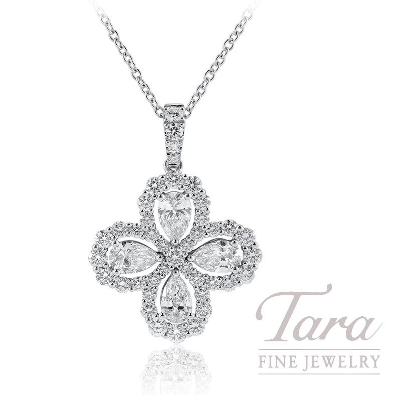 """18K White Gold Pear-shape Diamond Flower Necklace, 16/18"""" Chain, 6.4G, .97TW Pear-shape Diamonds, 1.10TW Round Diamonds"""