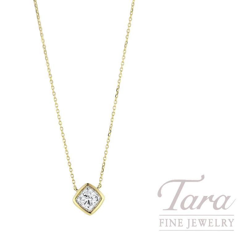5ec4a935533cd 18K Yellow Gold, Cushion Cut Diamond Pendant Necklace, 18