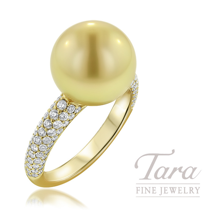 Mikimoto 18K Yellow Gold Pearl Ring, 11MM Golden South Sea Pearl, 110 Round Diamonds .66TDW