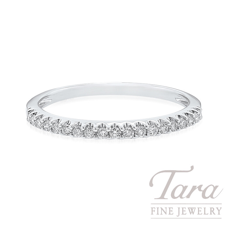 18K White Gold Diamond Band, 1.4G, .15TDW
