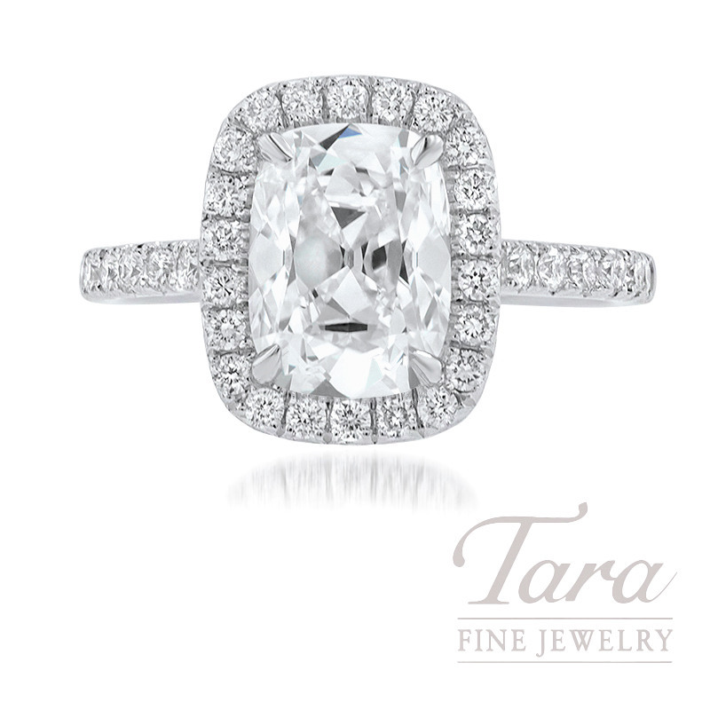 18K White Gold Cushion Diamond Halo Engagement Ring, 2.17CT Cushion Diamond, 3.6G, .46TDW (Center Stone Sold Separately)
