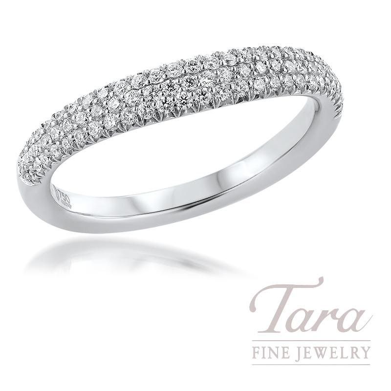 18K White Gold Curved Diamond Band 79 Round Diamonds, 0.30TDW