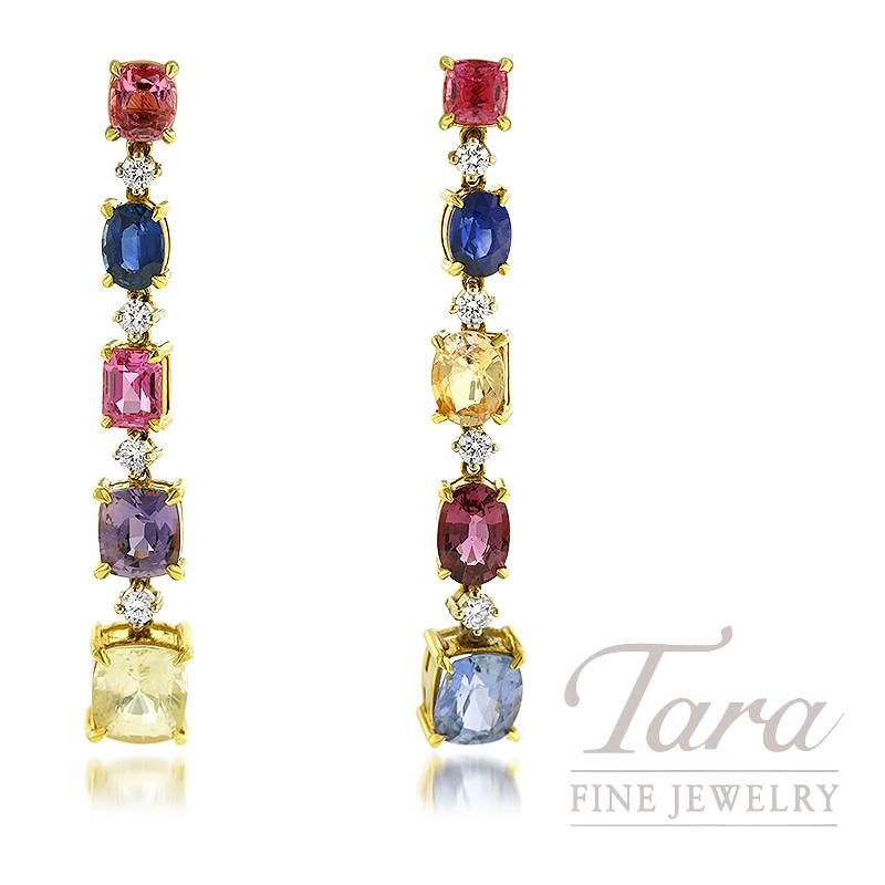 18K White and Yellow Gold Rainbow Sapphire and Diamond Dangle Earrings, 10 Sapphire 17.00TGW, 8 Round Diamonds 0.71TDW