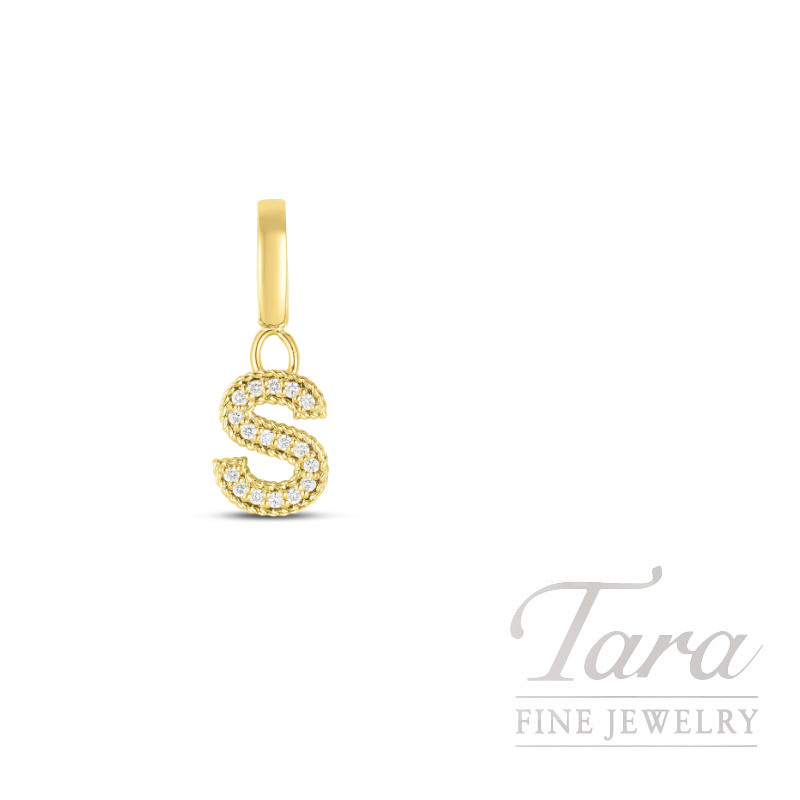 "18K Yellow Gold Roberto Coin Diamond Princess Letter ""S"" Pendant, 17 Round Diamond .08TW"