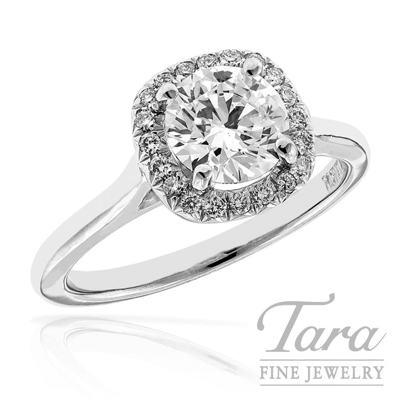 Forevermark Diamond Engagement Ring with Halo In 18K White Gold 1.02CT Center, .15TDW Halo Mounting