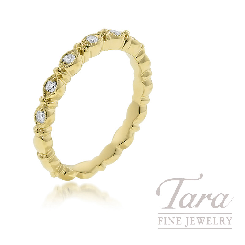 18K Yellow Gold Diamond Stackable Ring, 3.5G, .13TDW