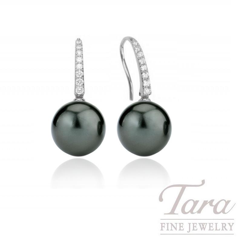 Tahitian Pearl & Diamond Earrings in 18K White Gold, 9mm Pearl and .14 TDW