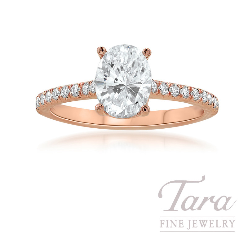 18K Rose Gold Oval-shape Diamond Engagement Ring, 2.9G, .25TDW (Center Stone Sold Separately)