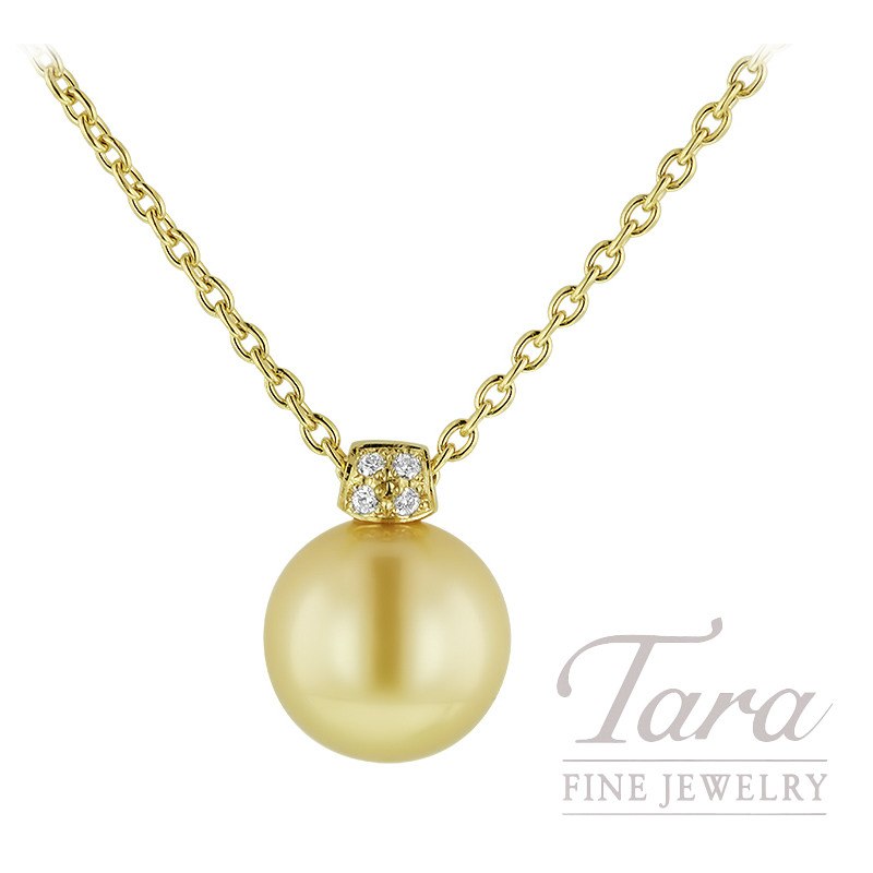 "18K Yellow Gold Pendant 32"" Chain 11MM Golden South Sea Pearl, 4 Diamonds .02TDW"