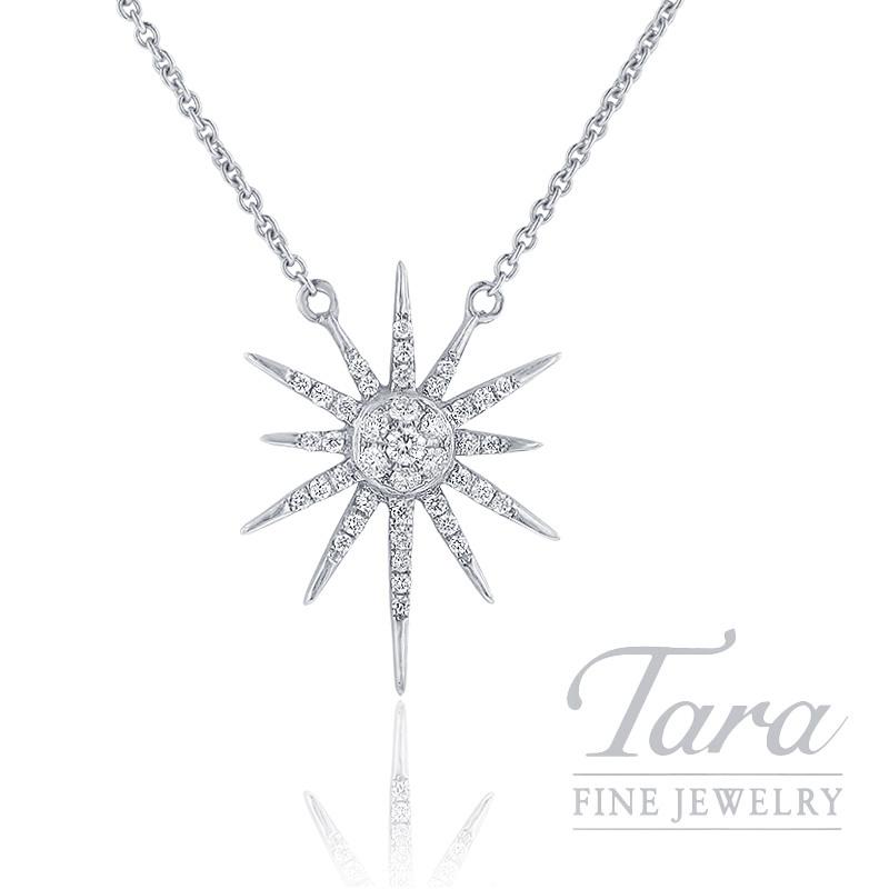 "18k White Gold Diamond Sparkler Necklace, 16/18"" Chain, 3.5G, .22TDW"