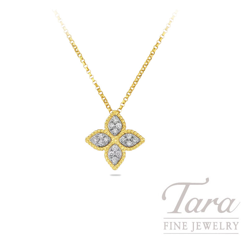 Roberto Coin 18K Yellow Gold Princess Flower Diamond Pendant, .17TDW, Princes Flower Collection