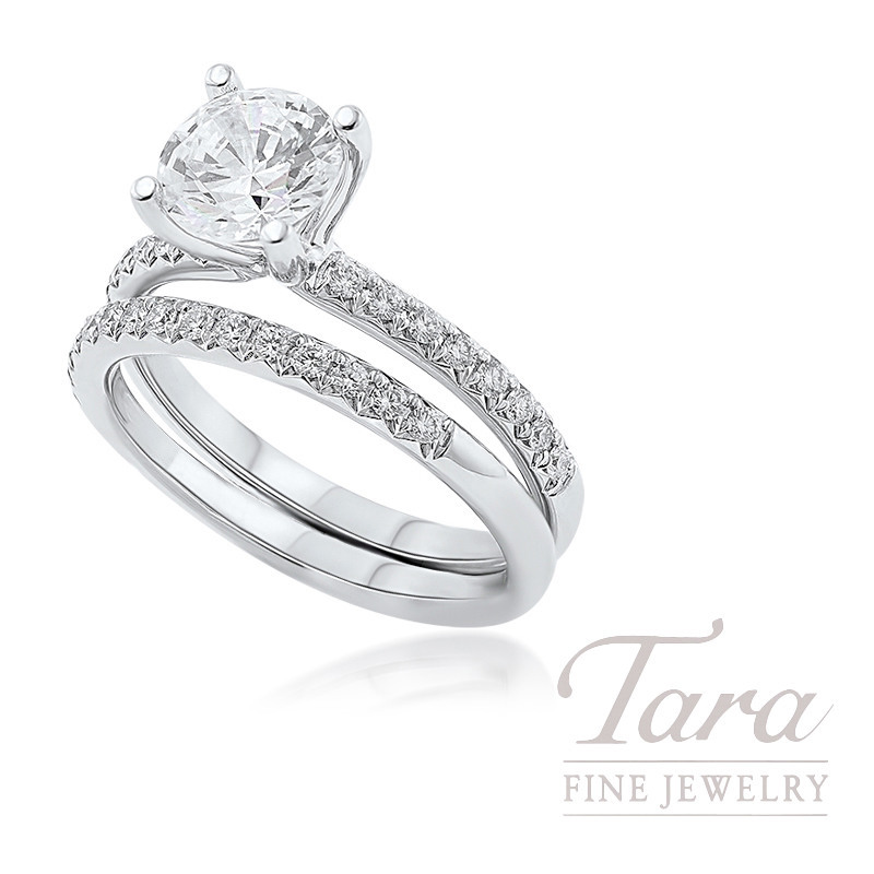 18k White Gold Diamond Wedding Set, .41TDW (Center Stone Sold Separately)
