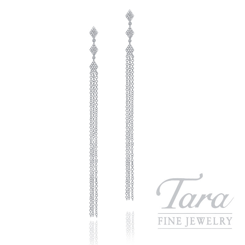 18k White Gold Pave Diamond Dangle Earrings, 2.9G, .18TDW