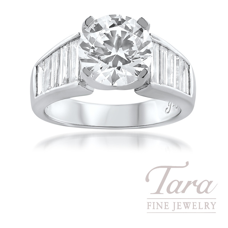JB Star Platinum Diamond Semi Mount Ring; 10 Baguette Diamonds 1.60TDW (Center stone sold separately)