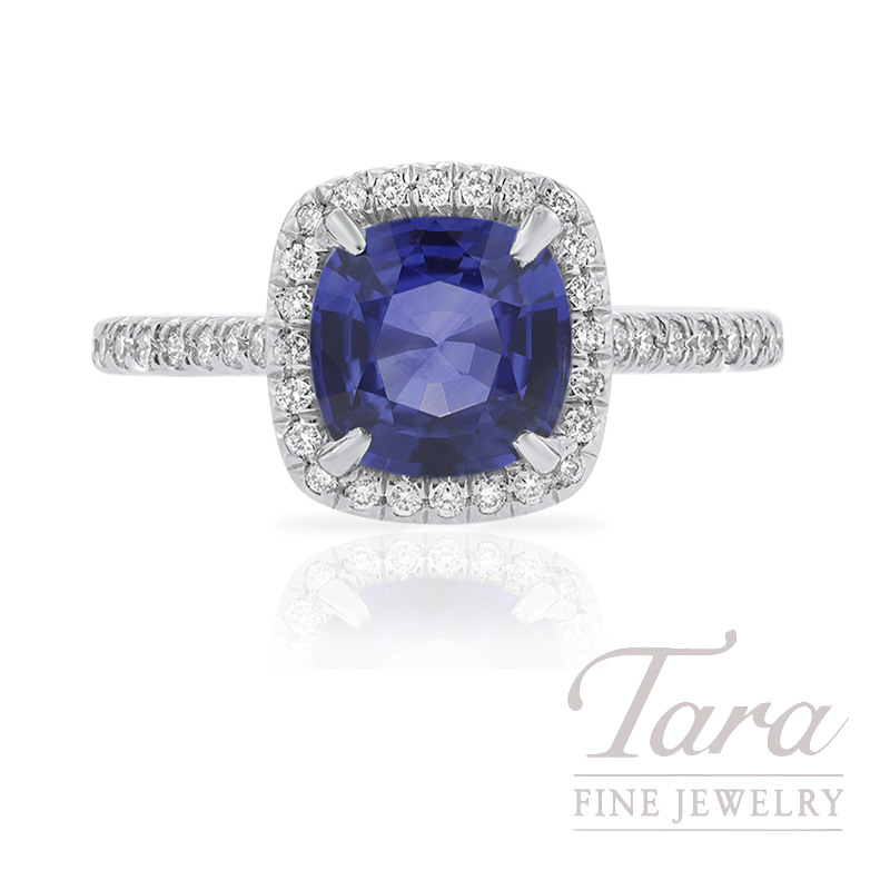 18K White Gold Blue Sapphire and Diamond Halo Engagement Ring, 2.04CT Blue Sapphire, 4.5G, .30TDW