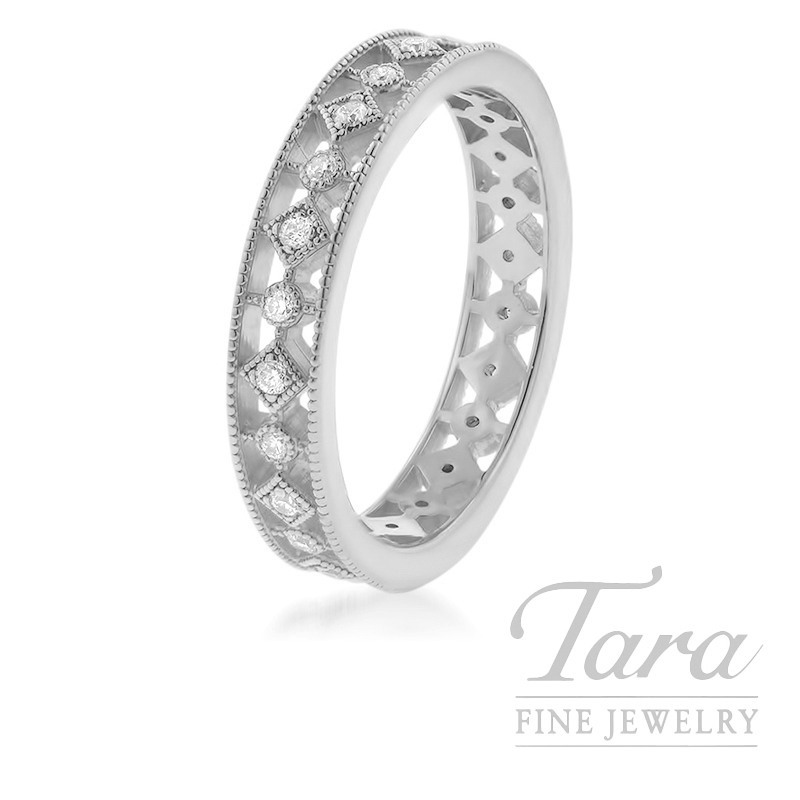 18K White Gold Stackable Band, .24TDW