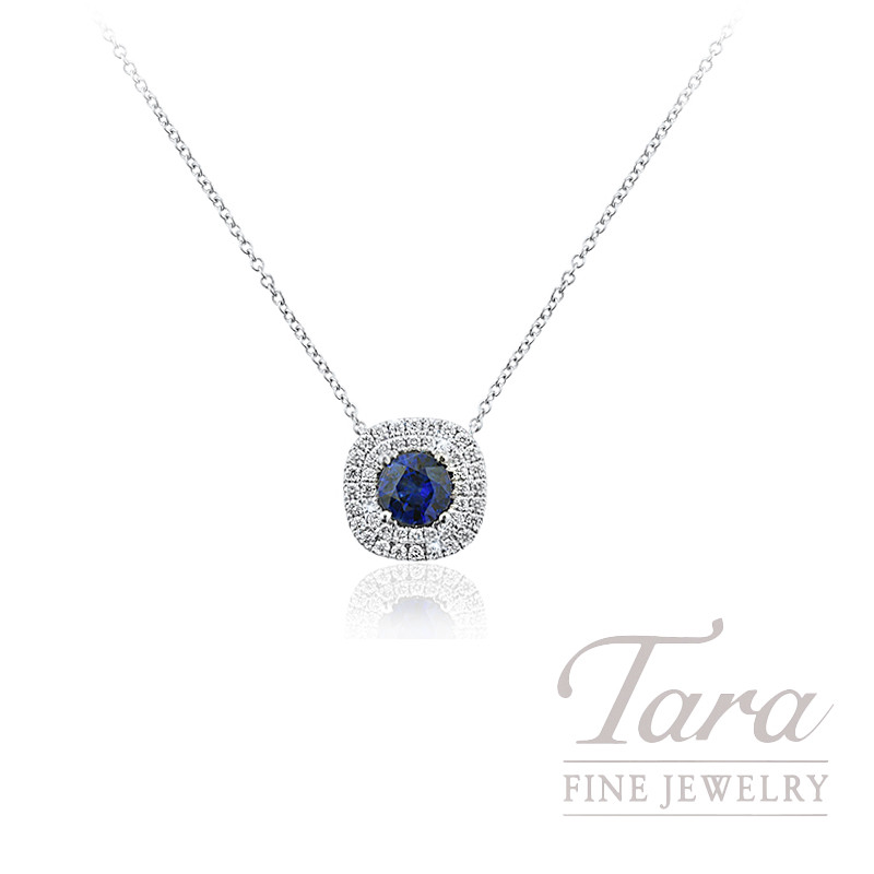 "A. Jaffe 18K White Gold Double Halo Blue Sapphire and Diamond Necklace, 18"" Chain, 3.4G, .67CT Natural Blue Sapphire, .24TDW"