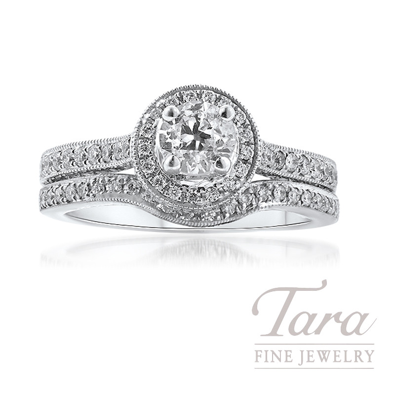 18k White Gold Diamond Halo Wedding Set, .57CT Old-Mine Cut Round Diamond, 6.7G, .70TDW