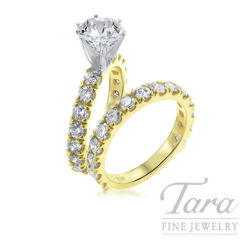 18k Yellow Gold Diamond Wedding Set, 2.37TDW (Center Stone Sold Separately)